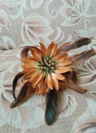 Заколка, крабик, цветок