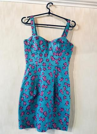 Платье сарафан бюстье бирюза цветочное