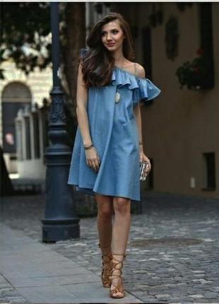 Джинсовое платье с воланом!