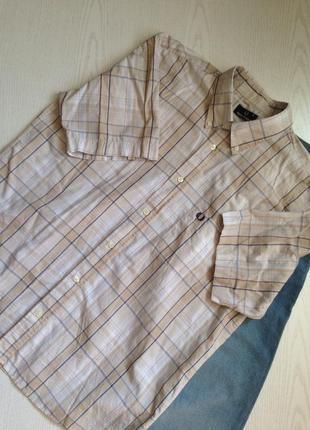 Брендовая коттоновая рубашка в клетку с коротким рукавом