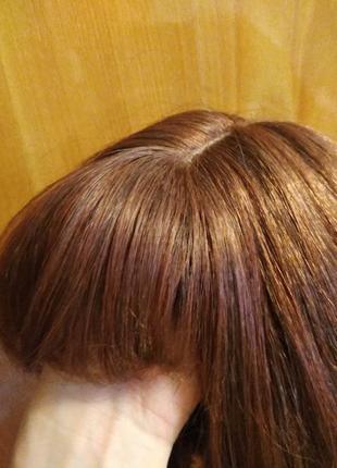 Рыжий парик с челкой имитация кожи головы