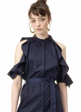 Котоновое платье-рубашка с рукавами рюшами
