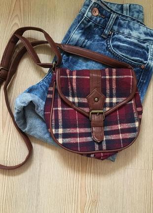 Бордова коричнева маленька сумка на плече на довгому ремінці в клітинку f&f