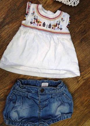 Стильный летний костюмчик. джинсовые  шортики и футболка