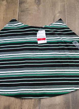 Хлопковая полосатая юбка в черно-зеленом цвете, м размер. новая!