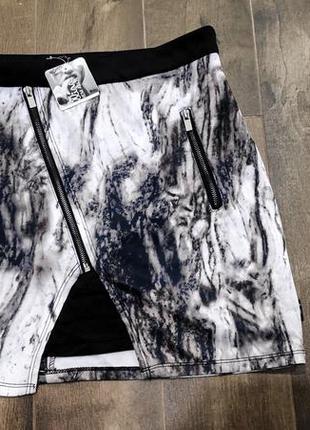Обалденная стильная мраморная юбка с молниями от chillin, xl