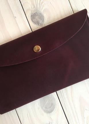 Тревел-кейс женский goose™ натуральная кожа бордовый (кошелек, портмоне)