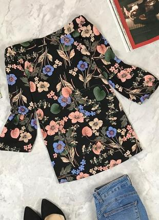 Красивая блуза с открытыми плечиками в цветочный принт  bl1922129 f&f
