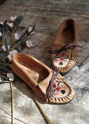 Мокасины в стиле бохо от minnetonka-сша-натуральная замшевая кожа-35р