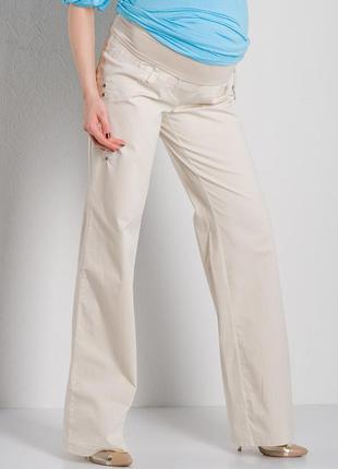 Бежевые,летние,лёгкие,льняные брюки- штаны для беременных/etam|лен/ большой размер
