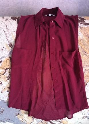 Стильная блуза цвета марсала