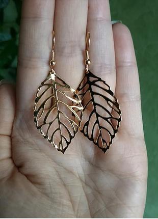 Серьги золото сережки листочки листочек