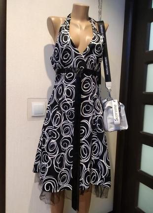 Стильное коктейльное платье миди пышное черно-белое