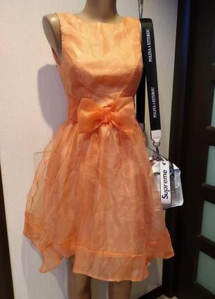 Крутое стильное пышное коктейльное платье мини персиковое