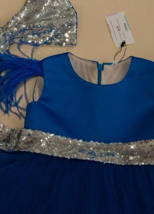 Нарядное платье на годик с кружевом и пайетками2 фото
