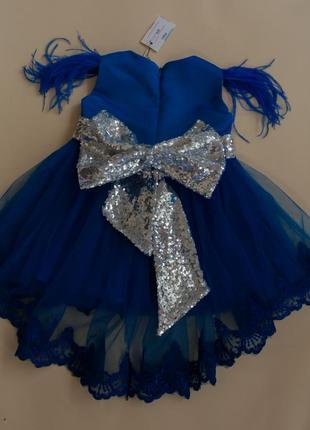 Нарядное платье на годик с кружевом и пайетками3 фото
