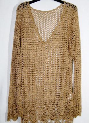 Вязаная ажурная блуза-туника с рукавом р 10-14 золотая,летняя