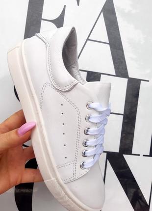 Белые кожаные кроссовки3 фото