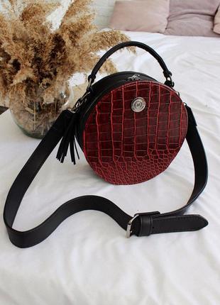 Женская сумка, круглая, стильная сумочка кросс боди с ремешком красная бордовая