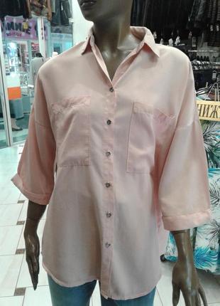 Италия.100%-тенсел.  рубашка пудрового цвета 42-44р.