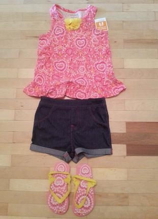 Костюм комплект одежды туника шорты шлепанцы летний для девочки healthex