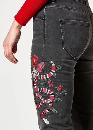 1+1=3 крутые узкие высокие джинсы скинни с вышивкой hallhuber, размер 44 - 46