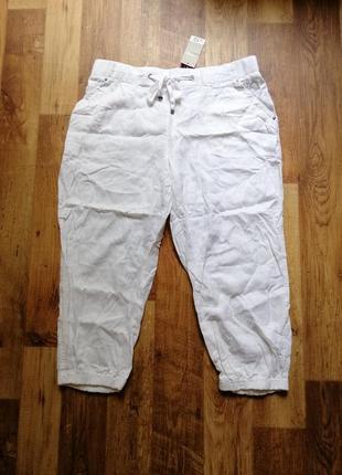 Белые льняные бриджи