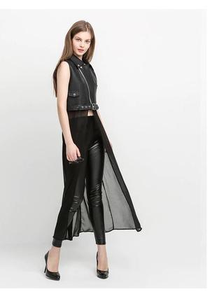 Женская шифоновая куртка без рукавов из искусственной кожи