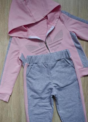 Модный трикотажный спортивный костюм, кофта с капюшоном и штаны с манжэтом на резинке