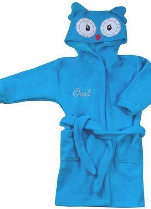 """Махровый халат """"owl"""" для мальчика, koala baby, 05-042"""