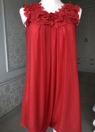 Платье красное, коралловое до колен, нарядное, выпускное, вечернее, летнее м6 фото