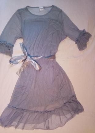 Платье миди  пыльно голубое с рукавами