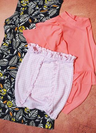 Тотальная распродажа! красивейшая клетчатая юбка с рюшами и высокой посадкой