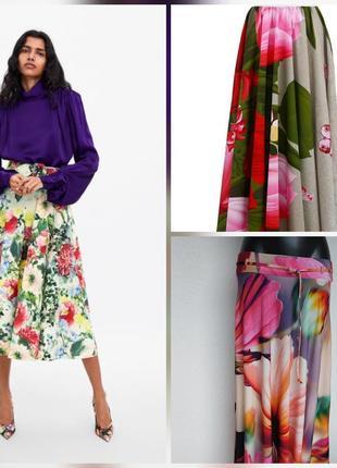 Фирменная стильная качественная юбка солнце клёш в цветочном принте.