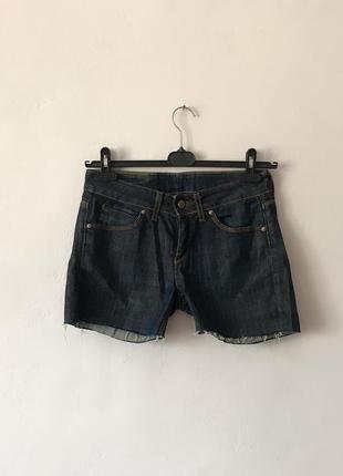 Тёмно-синие короткие шорты шортики джинс необработанный низ.р.