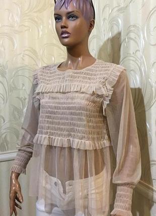 Шикарная блуза/сетка, asos uk14/m-l