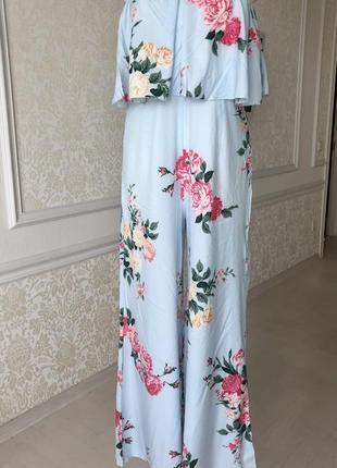 Комбинезон летний , брючный, голубой в розовые цветы, размер м-л