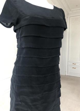 Платье черное, коктельное, миди, вечернее, нарядное, шёлк / м