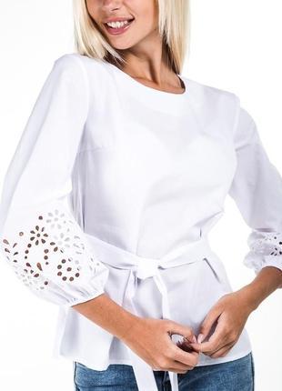 Блуза с вышивкой и объемными рукавами