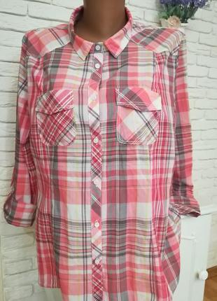Тонкая брендовая рубашка в клетку,р.l,brend cecil
