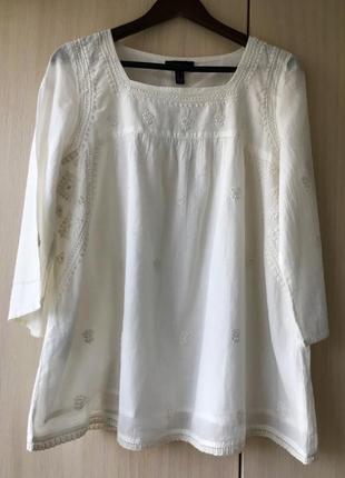 Белая блуза-вышиванка mango, s, хлопок