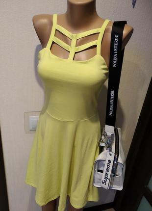 Отличный летний сарафан платье мини трикотаж яркий