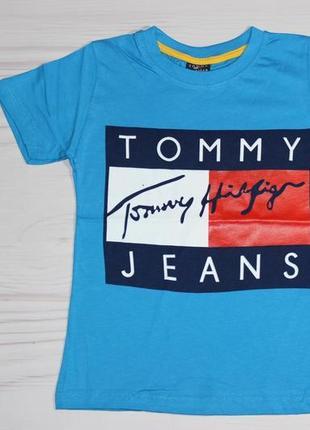 Хлопковая голубая футболка tommy hilfiger, с надписями, турция