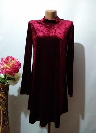 Платье трапеция  из мраморного бархата велюровое