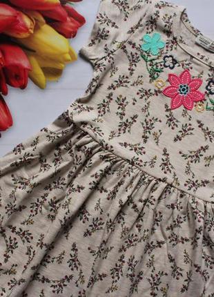 Трикотажное платье на девочку цветы /сукня, сарафанквіточка 92-116