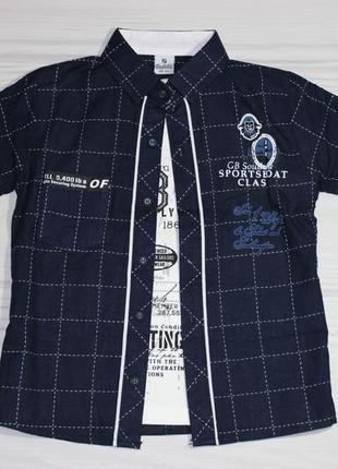 Синяя хлопковая рубашка в клетку, с коротким рукавом + футболка, турция