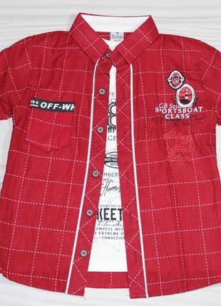 Красная хлопковая рубашка в клетку, с коротким рукавом + футболка, турция1 фото