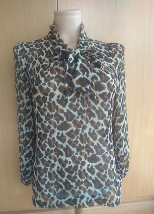 Блуза, рубашка полупрозрачеая леопард