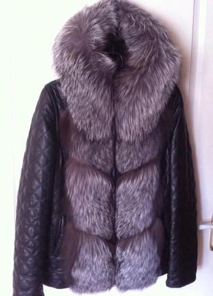 Кожаная куртка с мехом чернобурки трансформер