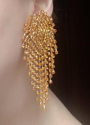 Сережки в стиле zara зара золото вечерние серьги свадебные